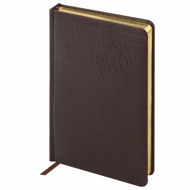 """Ежедневник датированный 2021 А5 (138х213 мм) BRAUBERG """"Comodo"""", кожзам, коричневый, 111365"""