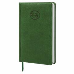 """Ежедневник датированный 2021 А5 (138x213 мм) BRAUBERG """"Favorite"""", кожзам, зеленый, 111370"""