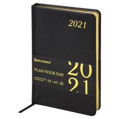 """Ежедневник датированный 2021 А5 (138х213 мм) BRAUBERG """"Iguana"""", кожзам, черный, 111379"""