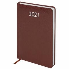 "Ежедневник датированный 2021 А5 (138х213 мм) BRAUBERG ""Profile"", балакрон, коричневый, 111383"