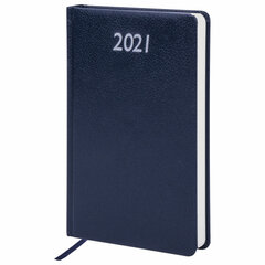 """Ежедневник датированный 2021 А5 (138х213 мм) BRAUBERG """"Profile"""", балакрон, синий, 111384"""