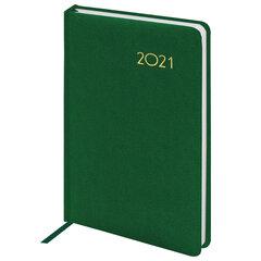 "Ежедневник датированный 2021 А5 (138х213 мм) BRAUBERG ""Select"", балакрон, зеленый, 111397"