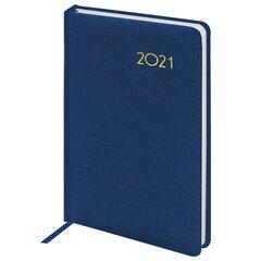 """Ежедневник датированный 2021 А5 (138х213 мм) BRAUBERG """"Select"""", балакрон, темно-синий, 111399"""