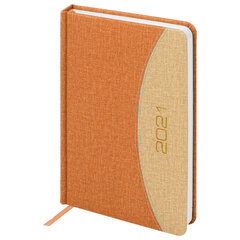 "Ежедневник датированный 2021 А5 (138x213 мм) BRAUBERG ""SimplyNew"", кожзам, оранжевый/бежевый, 111409"