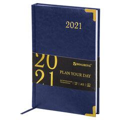 "Ежедневник датированный 2021 А5 (138х213 мм) BRAUBERG ""Senator"", кожзам, синий, 111411"