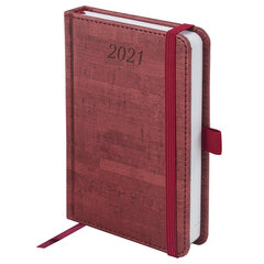"""Ежедневник датированный 2021 МАЛЫЙ ФОРМАТ (100х150 мм) А6, BRAUBERG """"Wood"""", кожзам, держатель для ручки, бордовый, 111428"""
