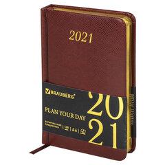 """Ежедневник датированный 2021 МАЛЫЙ ФОРМАТ (100х150 мм) А6, BRAUBERG """"Iguana"""", кожзам, коричневый, 111430"""