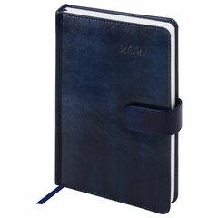 """Ежедневник датированный 2021 А5 (138x213 мм) BRAUBERG """"Legend"""", кожзам, магнитная застежка, синий, 111446"""