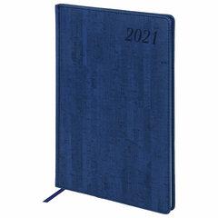 "Еженедельник датированный 2021 БОЛЬШОЙ ФОРМАТ (210х297 мм) А4, BRAUBERG ""Wood"", кожзам, синий, 111531"