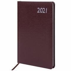 "Еженедельник датированный 2021 А5 (145х215 мм) BRAUBERG ""Profile"", балакрон, коричневый, 111540"