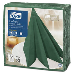 """Салфетки бумажные нетканые сервировочные TORK """"LinStyle Premium"""", 39х39 см, 50 шт., темно-зеленые, 478847"""