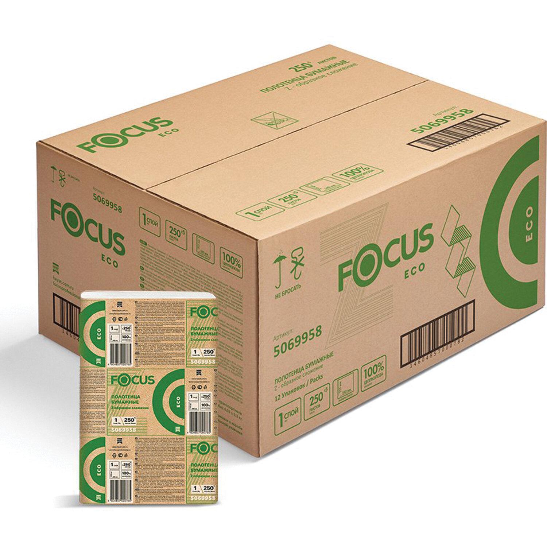 Полотенца бумажные 250 шт. FOCUS (Система H2) Eco, 1-слойные, белые, КОМПЛЕКТ 12 пачек, 24х21,5, Z-сложение, 5069958/5044994