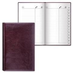 "Телефонная книжка А5 (136х202 мм), BRAUBERG ""Imperial"", под гладкую кожу, 96 л., вырубной алфавит, темно-коричневая, 123869"