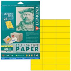 Этикетка самоклеящаяся 70х37 мм, 24 этикетки, лимонно-желтая, 80 г/м2, 50 листов, LOMOND, 2130165