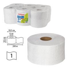 Бумага туалетная ЛЮБАША (Система T2) 1-слойная 12 рулонов по 200 метров, отбеленная, 124546