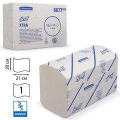 Полотенца бумажные 320 шт., KIMBERLY-CLARK Scott, КОМПЛЕКТ 15 шт., Xtra, белые, 21х20 см, Interfold, диспенсер 601533, 6677