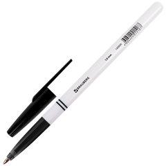"""Ручка шариковая BRAUBERG """"Офисная"""", ЧЕРНАЯ, корпус белый, узел 1 мм, линия письма 0,5 мм, 140890"""
