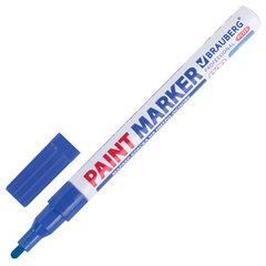 Маркер-краска лаковый (paint marker) 2 мм, СИНИЙ, НИТРО-ОСНОВА, алюминиевый корпус, BRAUBERG PROFESSIONAL PLUS, 151441