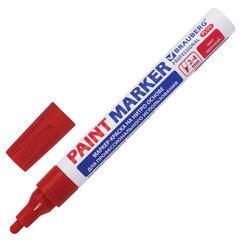 Маркер-краска лаковый (paint marker) 4 мм, КРАСНЫЙ, НИТРО-ОСНОВА, алюминиевый корпус, BRAUBERG PROFESSIONAL PLUS, 151446