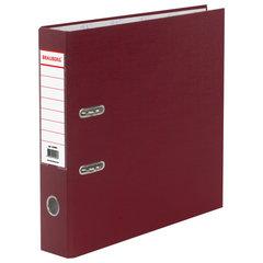 Папка-регистратор BRAUBERG с покрытием из ПВХ, 70 мм, бордовая (удвоенный срок службы), 220892
