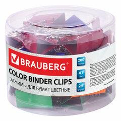 Зажимы для бумаг BRAUBERG, КОМПЛЕКТ 24 шт., 41 мм, на 200 листов, цветные, в пластиковом цилиндре, 221130