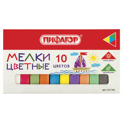 Мел цветной ПИФАГОР, набор 10 шт., квадратный, 221168