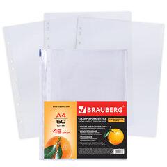 Папки-файлы перфорированные А4 BRAUBERG, КОМПЛЕКТ 50 шт., матовые, 45 мкм, 221712