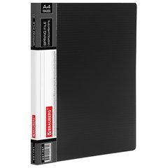 """Папка с металлическим скоросшивателем и внутренним карманом BRAUBERG """"Contract"""", черная, до 100 л., 0,7 мм, 221781"""