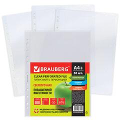 Папки-файлы перфорированные А4+ BRAUBERG, КОМПЛЕКТ 50 шт., гладкие, СВЕРХПРОЧНЫЕ, 110 мкм, 222159