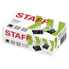 """Зажимы для бумаг большие STAFF """"EVERYDAY"""", КОМПЛЕКТ 12 шт., 51 мм, на 230 листов, черные, картонная коробка, 224610"""