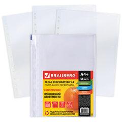 Папки-файлы перфорированные А4+ BRAUBERG, КОМПЛЕКТ 50 шт., матовые, СВЕРХПРОЧНЫЕ, 100 мкм, 225219