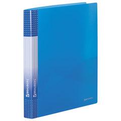 """Папка на 2 кольцах BRAUBERG """"Диагональ"""", 25 мм, внутренний карман, тонированная синяя, до 170 листов, 0,7 мм, 227504"""