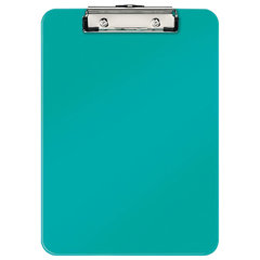 "Доска-планшет LEITZ ""WOW"", с верхним прижимом, A4, 320х228 мм, пластик, 1,7 мм, бирюзовая, 39710051"