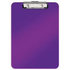 """Доска-планшет LEITZ """"WOW"""", с верхним прижимом, A4, 320х228 мм, пластик, 1,7 мм, фиолетовая, 39710062"""
