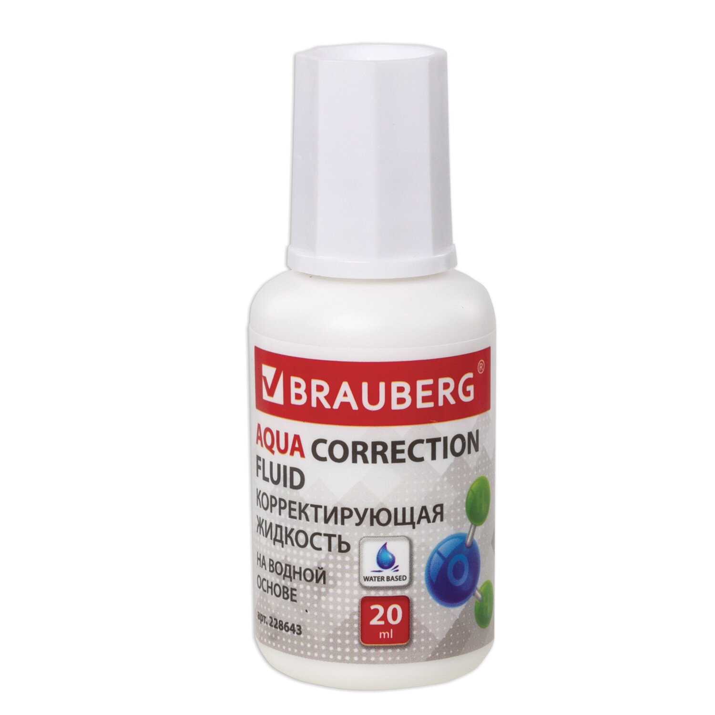 """Корректирующая жидкость BRAUBERG """"Aqua"""" на водной основе 20 мл, с кисточкой, 228643"""