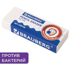 "Ластик BRAUBERG ""АНТИБАКТЕРИАЛЬНЫЙ"", 58х22х12 мм, белый, прямоугольный, картонный держатель, 228728"