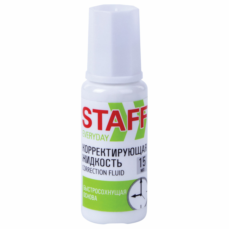 """Корректирующая жидкость STAFF """"Everyday"""" быстросохнущая, 15 мл, с кисточкой, 229398"""