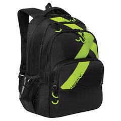 """Рюкзак GRIZZLY молодежный, 2 отделения, черный, """"Green X"""", 45x32x23 см, RU-030-1/1"""