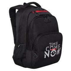 """Рюкзак GRIZZLY молодежный, 2 отделения, черный, """"Time"""", 45x32x23 см, RU-030-2/1"""