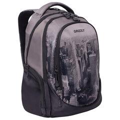 """Рюкзак GRIZZLY молодежный, 3 отделения, черный/серый, """"Megapolis"""", 44x28x23 см, RU-037-4/2"""