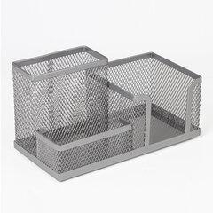 """Подставка-органайзер BRAUBERG """"Germanium"""", металлическая, 3 секции, 102*186*95 мм, серебристая, 231987"""