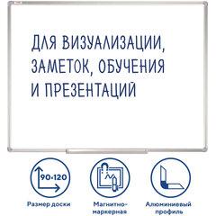 Доска магнитно-маркерная 90х120 см, алюминиевая рамка, ГАРАНТИЯ 10 ЛЕТ, STAFF, 235463
