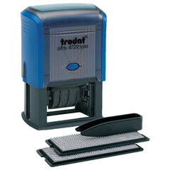 Датер самонаборный, 4 строки+дата, оттиск 50х30 мм, синий, TRODAT 4729 BANK, кассы в комплекте