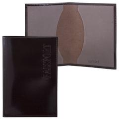 """Обложка для паспорта BEFLER """"Classic"""", натуральная кожа, тиснение """"Passport"""", коричневая, O.1.-1"""