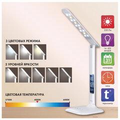 Светильник настольный SONNEN BR-888A, на подставке, светодиодный, 9 Вт, часы, календарь, термометр, белый, 236664