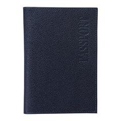 """Обложка для паспорта BEFLER """"Грейд"""", натуральная кожа, тиснение, синяя, O.1.-9"""