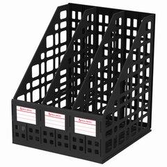 """Лоток вертикальный для бумаг BRAUBERG """"MAXI Plus"""", 240 мм, 3 отделения, сетчатый, сборный, черный, 237013"""