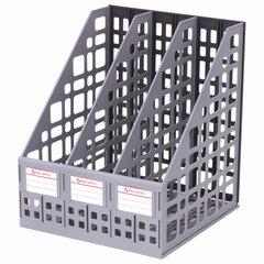 """Лоток вертикальный для бумаг BRAUBERG """"MAXI Plus"""", 240 мм, 3 отделения, сетчатый, сборный, серый, 237014"""