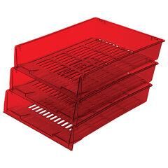 """Лотки горизонтальные для бумаг, КОМПЛЕКТ 3 шт., 340х270х70 мм, тонированный красный, BRAUBERG """"Office"""", 237260"""