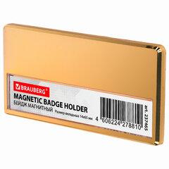 Бейдж магнитный золотистый 34х70 мм с окошком 14х65 мм, BRAUBERG, 237465